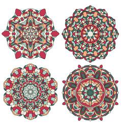 set of multicolored mandala vector image vector image