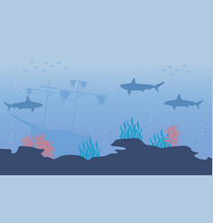 Silhouette of fish and ship underwater landscape vector