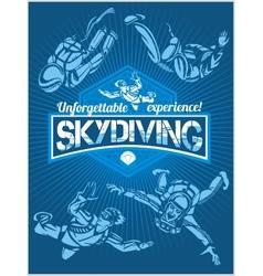 Skydiving set - emblem and skydivers vector image