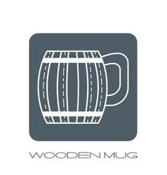 wooden mug for beer drinks white flat linear vector image vector image