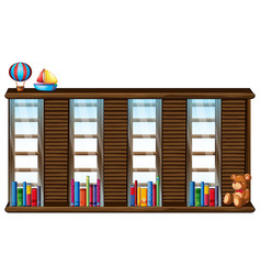 Wooden shelf with books and toys vector