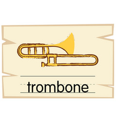 wordcard template for trombone vector image vector image