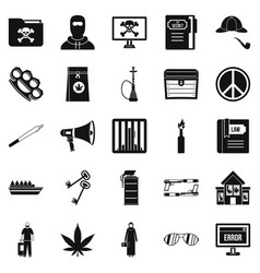 Wrongdoing icons set simple style vector