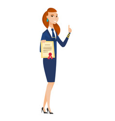 Young caucasian stewardess holding certificate vector