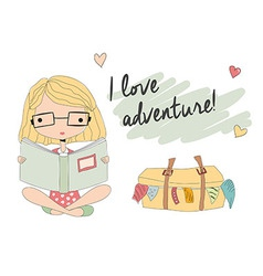 Young girl with glasses reading a book suitcase vector image