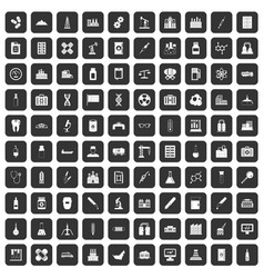100 chemical industry icons set black vector