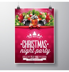 Merry Christmas Party flyer design vector image