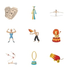 Concert in circus icons set cartoon style vector