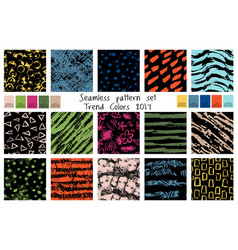 Spring seamless pattern set in trend colors vector