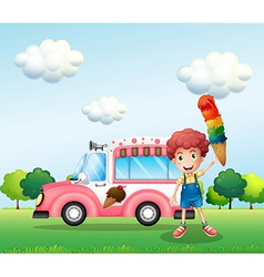A boy holding a cone with multiple layers of ice vector image