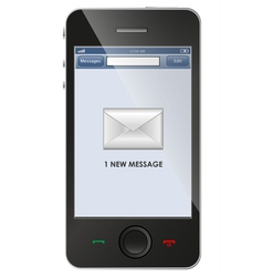 New message icon on smart phone vector