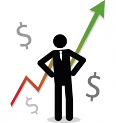 Business man with profit graph vector