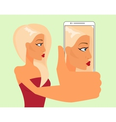Selfie of blond sensual girl vector