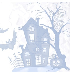 Halloween monster house with bat and pumpkins vector
