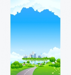 Green landscape with business island vector