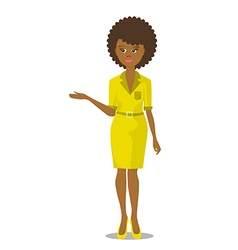 african black woman in yellow dress vector image