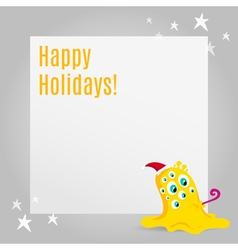 Christmas greeting card design with cute monster vector