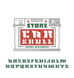 Square stencil plate serif font and car service vector image