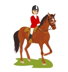 Attractive young woman ridding horse vector