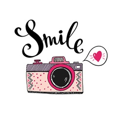 Retro photo camera with stylish lettering - smile vector