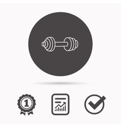 Dumbbell icon fitness sport or gym sign vector