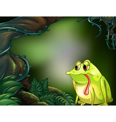 A hungry frog in the rainforest vector image