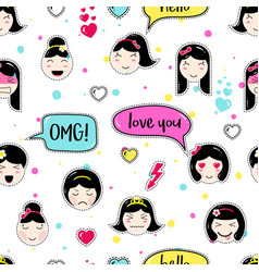 anime style seamless pattern with cute emoji girls vector image vector image