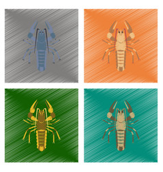 Assembly flat shading style seafood vector