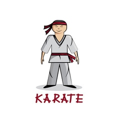 cartoon karate young man vector image