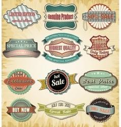 Collection of old color vintage label for design vector image