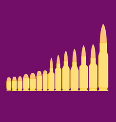 Different types of bullets in row on purple vector