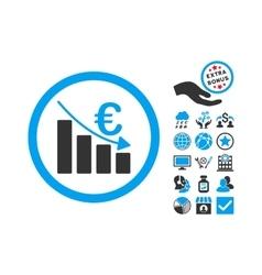 Euro Recession Flat Icon With Bonus vector image vector image