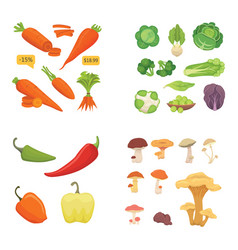 farming production vegetables icons set healthy vector image vector image