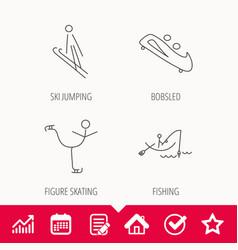 fishing figure skating and bobsled icons vector image