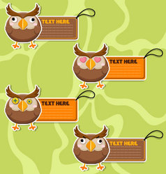 Four cute cartoon Owls stickers vector image vector image