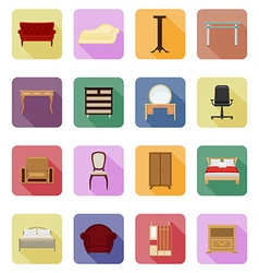 furniture flat icons 40 vector image vector image