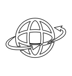global around connection internet web icon outline vector image vector image
