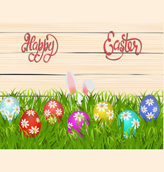Happy easter easter colored eggs with a pattern vector
