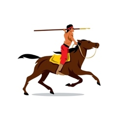 Indian on horseback cartoon vector
