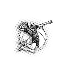 jumping volleyball player vector image vector image