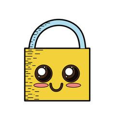 Kawaii cute happy padlock element vector