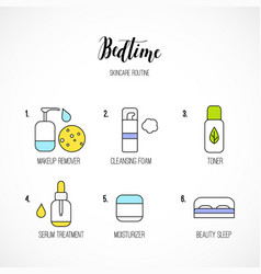 line art night time skincare routine icons vector image vector image
