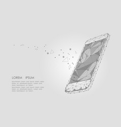 low poly smartphone mobile touch screen display vector image vector image