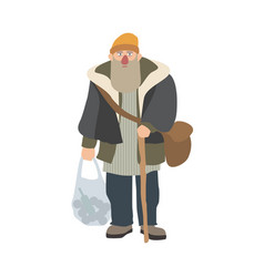 Old homeless man with beard and cane standing and vector