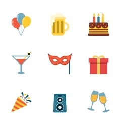 Party Icons Flat vector image vector image