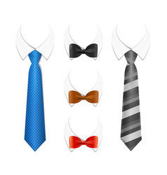 Realistic 3d detailed tuxedo tie bow and shirt vector