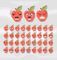 set of cute fruit smiley apple emoticons vector image vector image