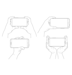 Set of hands with smartphones vector image vector image