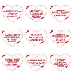 Set of quotes about love and marriage over white vector