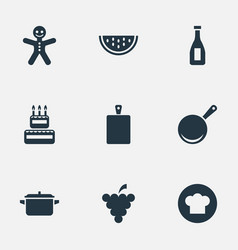 Set of simple preparation icons elements birthday vector